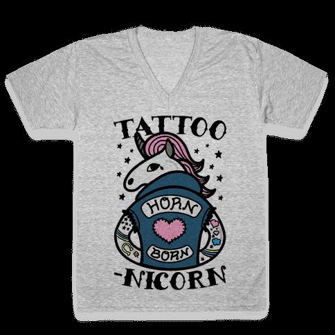 Tattoo-nicorn V-Neck Tee Shirt