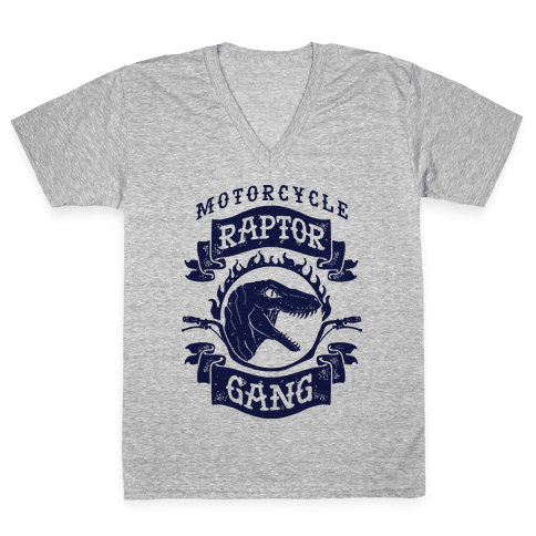 Motorcycle Raptor Gang V-Neck Tee Shirt