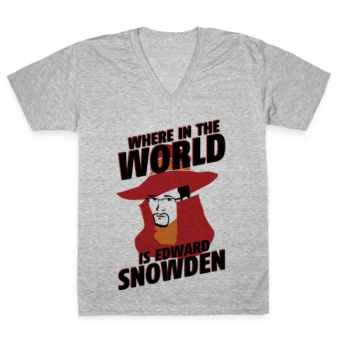 Where In The World Is Edward Snowden V-Neck Tee Shirt