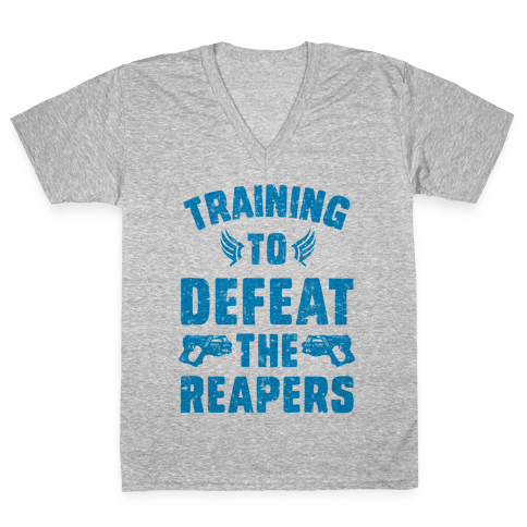 Training To Defeat The Reapers V-Neck Tee Shirt