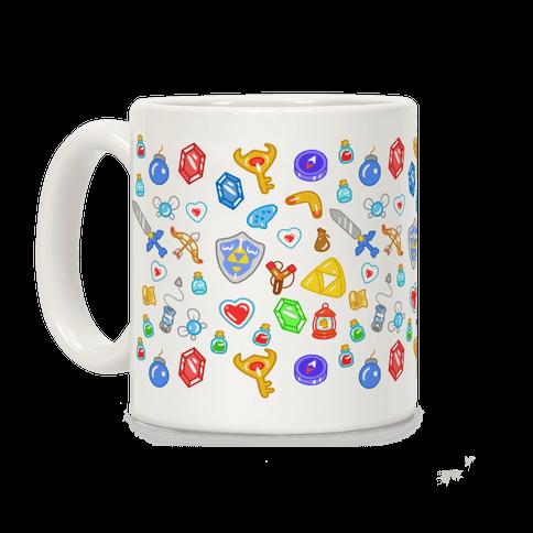 Zelda Items Pattern Coffee Mug