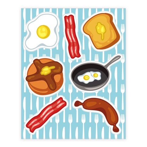 Breakfast food sticker decal sheet