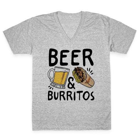 Beer And Burritos V-Neck Tee Shirt