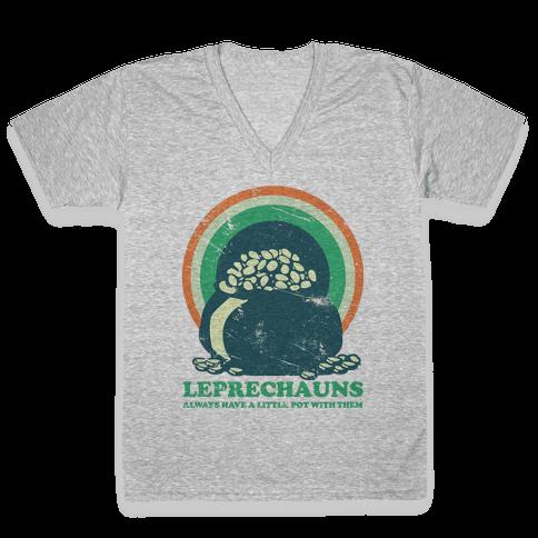 Leprechauns Always Have A Little Pot V-Neck Tee Shirt