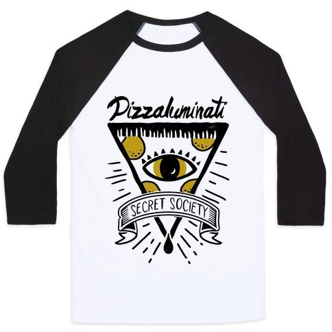 Pizzaluminati Secret Society Baseball Tee | LookHUMAN