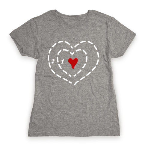 A Heart Two Sizes Too Small (White Ink) Womens T-Shirt