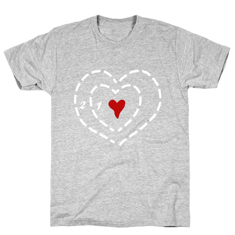 A Heart Two Sizes Too Small (White Ink) Mens T-Shirt