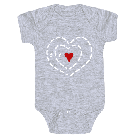 A Heart Two Sizes Too Small (White Ink) Baby Onesy