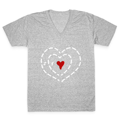 A Heart Two Sizes Too Small (White Ink) V-Neck Tee Shirt