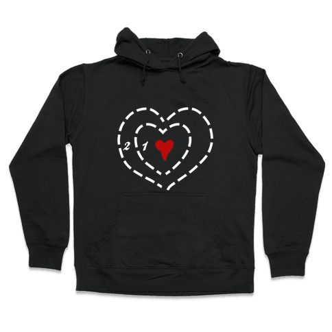 A Heart Two Sizes Too Small (White Ink) Hooded Sweatshirt
