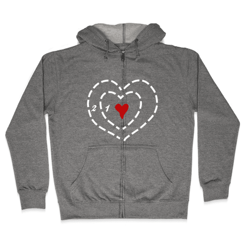 A Heart Two Sizes Too Small (White Ink) Zip Hoodie
