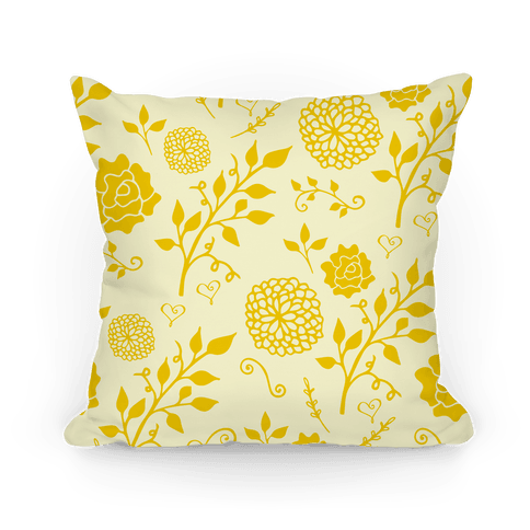 Yellow Whimsical Floral Pattern Pillow
