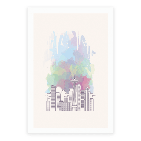 Seattle Graphic Watercolor Cityscape Poster