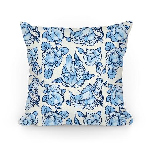 Floral Penis Pattern Blue Pillow
