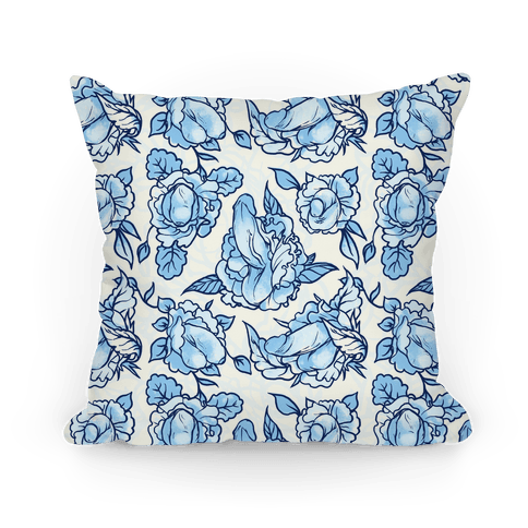 Floral Penis Pattern Blue Pillow