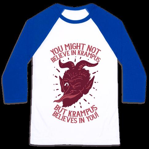 Krampus Believes in You Baseball Tee
