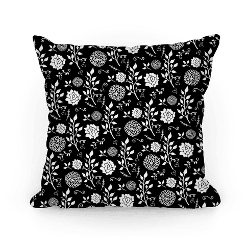 Black Whimsical Floral Pattern Pillow