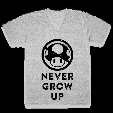 Never Grow Up V-Neck Tee Shirt