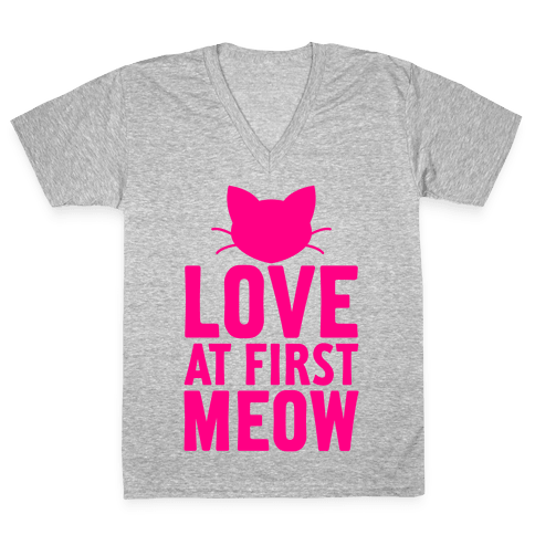 Love At First Meow V-Neck Tee Shirt