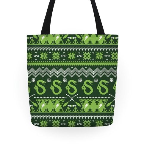Hogwarts Ugly Christmas Sweater Pattern: Slytherin Tote