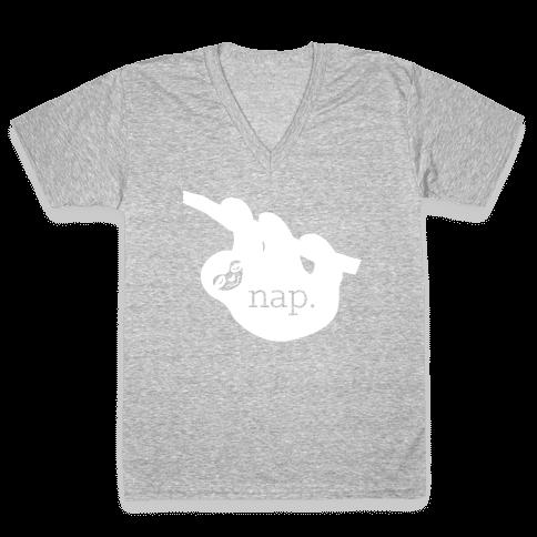 Sloth Nap V-Neck Tee Shirt