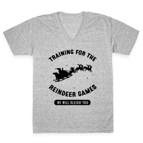 Training for the Reindeer Games V-Neck Tee Shirt