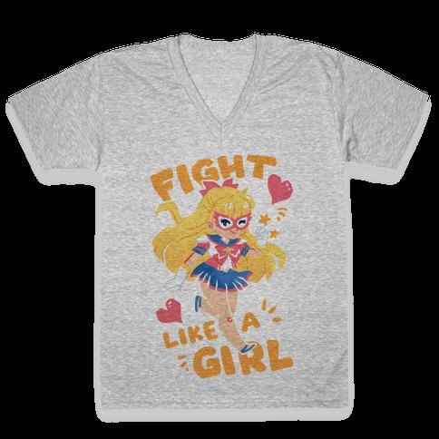 Fight Like A Girl: Venus Parody V-Neck Tee Shirt