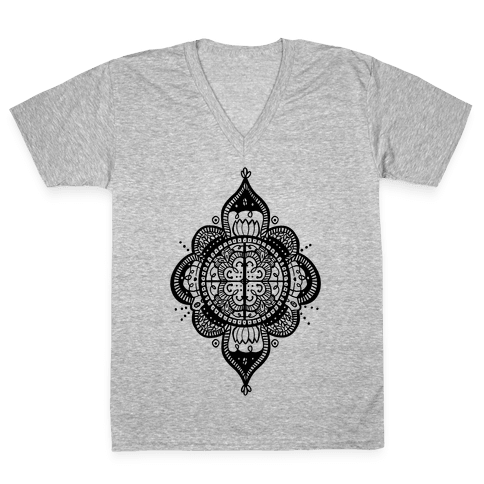 Rangoli Inspiration Pattern V-Neck Tee Shirt