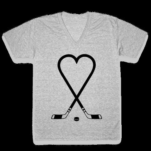 Hockey Love V-Neck Tee Shirt