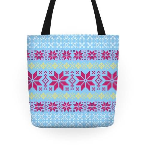 Sweater Pattern Light Blue Tote