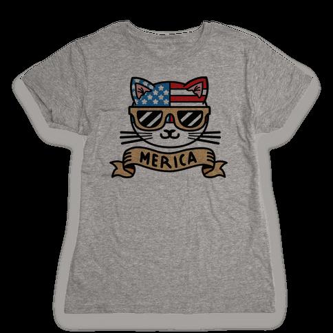 Merica Cat Womens T-Shirt