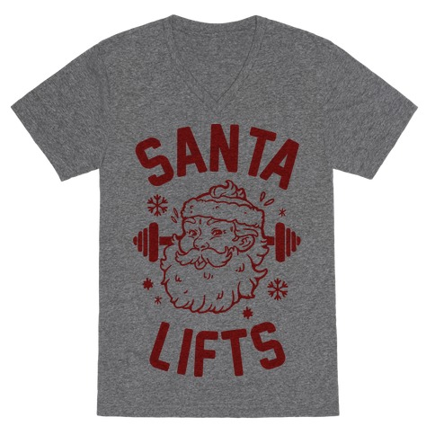 Santa Lifts V-Neck Tee Shirt