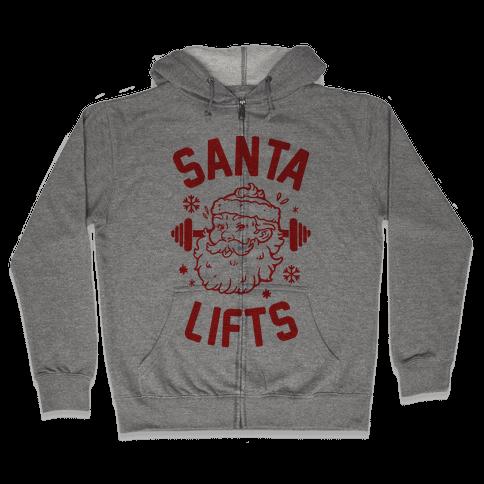 Santa Lifts Zip Hoodie
