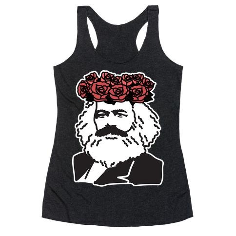 Flower Crown Karl Marx Racerback Tank Top