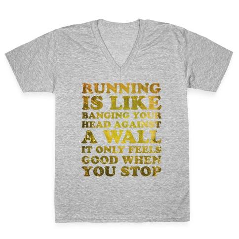 Running Is V-Neck Tee Shirt
