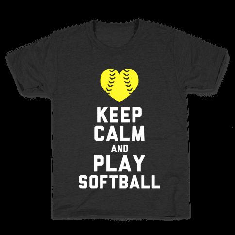 Keep Calm and Play Softball (Tank) Kids T-Shirt