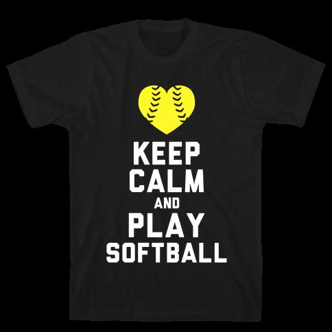 Keep Calm and Play Softball (Tank) Mens T-Shirt