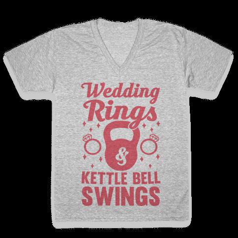 Wedding Rings & Kettle Bell Swings V-Neck Tee Shirt