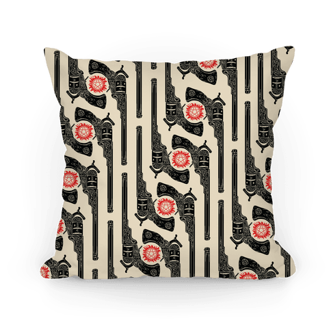 Supernatural Colt Revolver Pattern Pillow