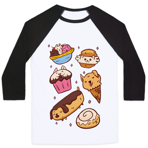 Kawaii Food Dogs Baseball Tee