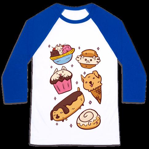 Kawaii Food Dogs Baseball Tee