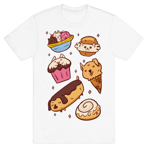 Kawaii Food Dogs Mens T-Shirt