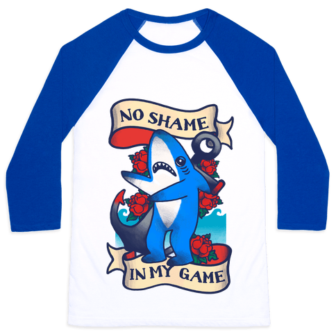 No Shame in My Game (Left Shark Tattoo) Baseball Tee