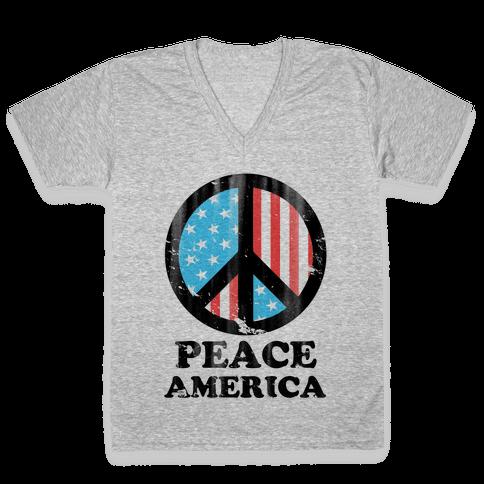 Peace America V-Neck Tee Shirt