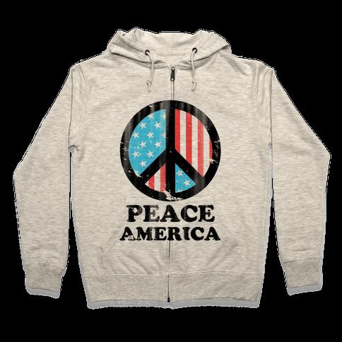 Peace America Zip Hoodie