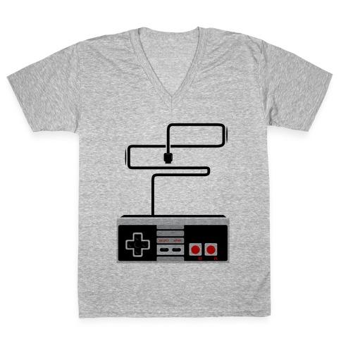 Retro Video Game Controller V-Neck Tee Shirt