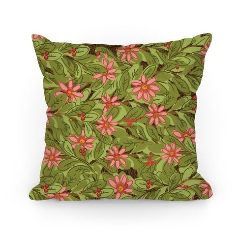Woodland Forest Foliage Pattern Pillow
