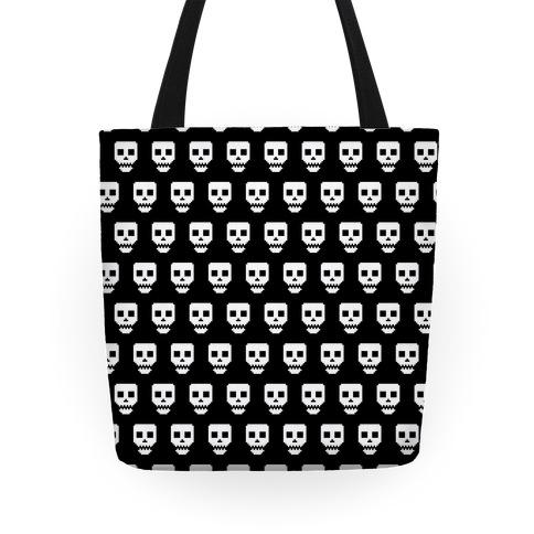 Spoopy Pixel Skull Tote