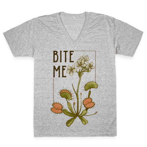 Bite Me Venus Flytrap V-Neck Tee Shirt