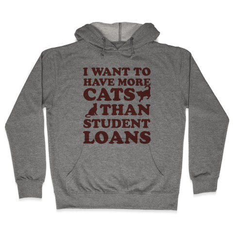 I Want More Cats Than Student Loans Hooded Sweatshirt